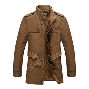 Loose Casual Stand Collar Men's Leather Coat