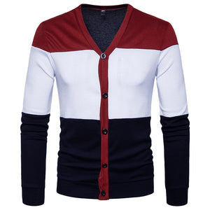 Color Block Button Scoop Neck England Men's Shirt