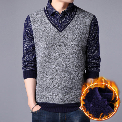 Thickened Warm Fake Two Pieces Men's Vest Jacket