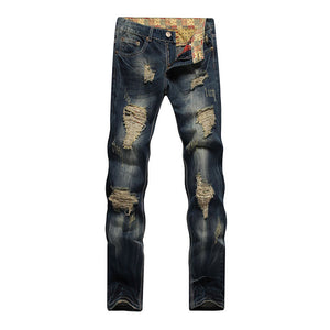 Worn Zipper Denim Pocket Hole Men's Jeans