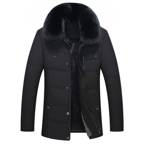 Zippered With Velvet Warm Loose Casual Men's Parka Jacket