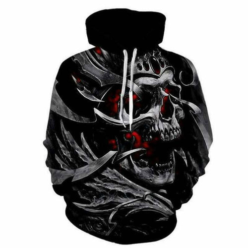 Lace Up Printed Skull Hooded Pullover Men's Hoodies