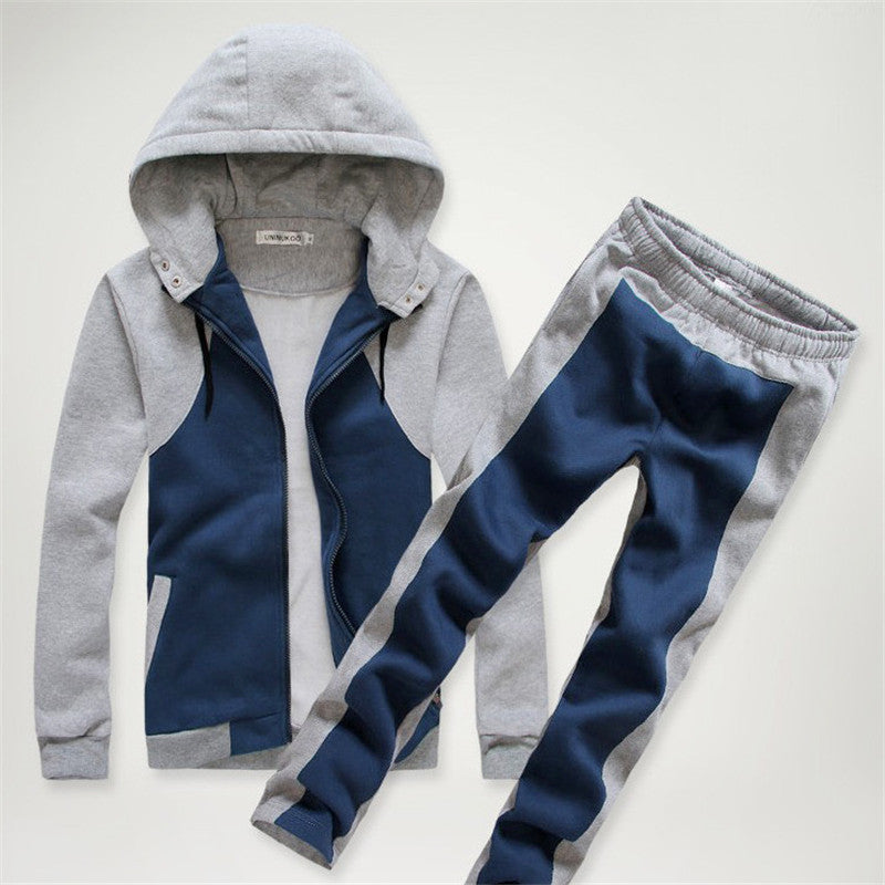 Color-blocked Hooded Single-Breasted Men's Sports Suit