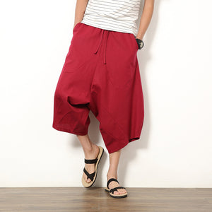 Solid Color Baggy Loose Fit Wide Legs Shorts