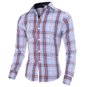 Turn-down Collar Cotton Blends Men's Shirts