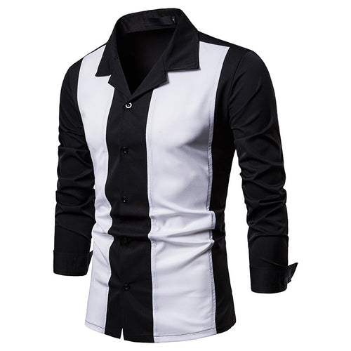 Colour-matched Lapel Long Sleeve Men's Shirt