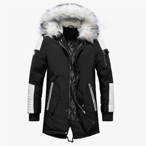 Fur Collar Striped Hooded Zippered Polyester Men's Down Coat
