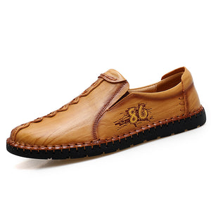 Leather Rubber Round Toe Anti Slip Men's Loafers