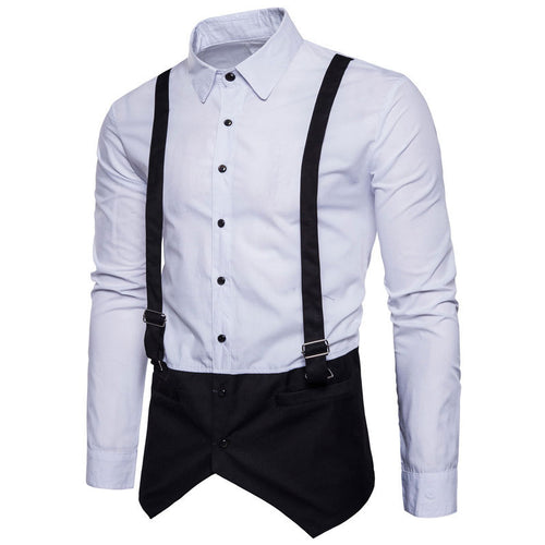 Patchwork Lapel Cotton Pure Color Men's Shirts