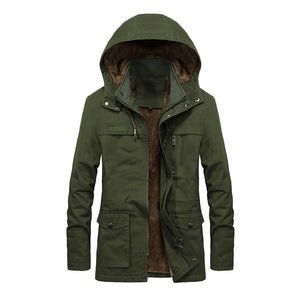 Pure Color Long Sleeve Zippered Hooded Men's Coat