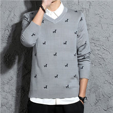 Animal V-Neck Long Sleeve Pullover Men's Sweater