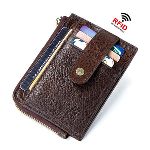 Antimagnetic Genuine Leather Coin Purse Men's Wallets
