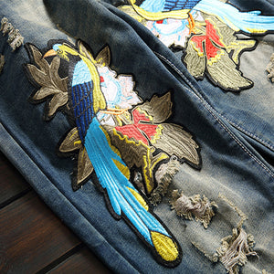 Magpies Embroidered Slim Jeans