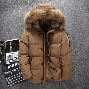 Fur Collar Brief  Regular Warm Men's Down Coat