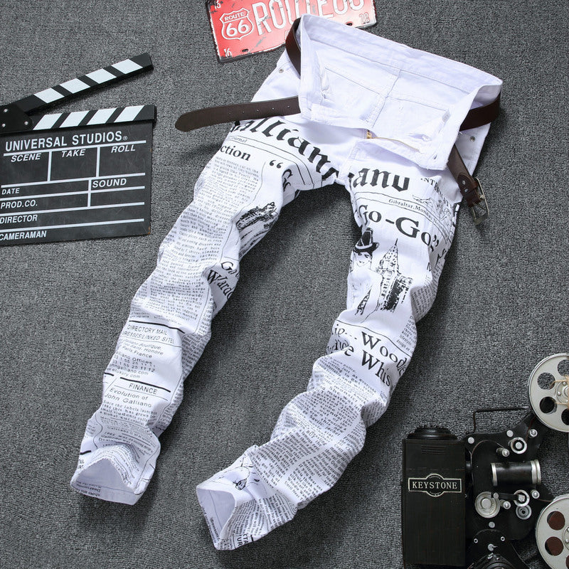 Elastic Alphabet Printing For Self-cultivation Men's Jeans