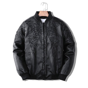 Patchwork Rock Zipper Leather Men's Outerwears