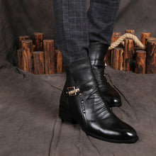 Buckle Breathable Men's Pleated Men's Leather Boots
