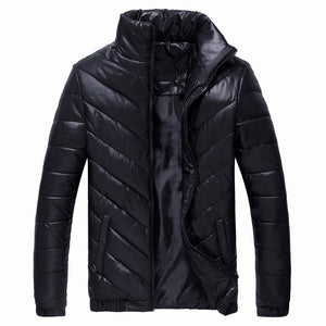 Striped Polyester Cotton Wrap Warm Men's Down Coat
