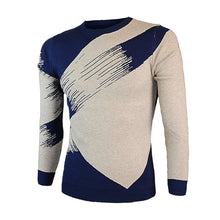 Acrylic Geometric Round Neck Contrast Color Men's Sweater