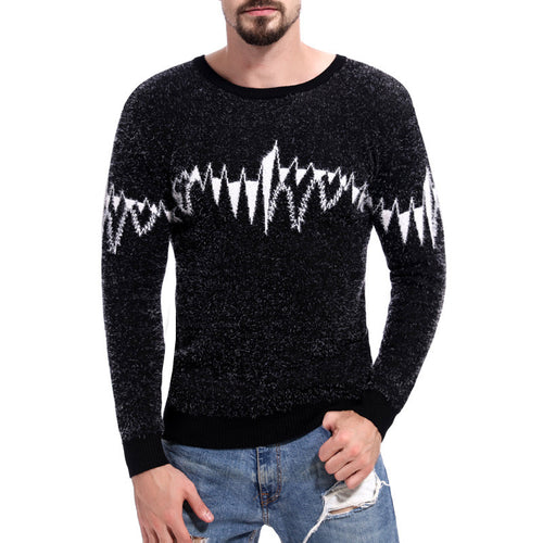 Contrast Color Thickened Warm Men's Sweater