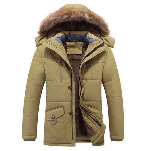 Hooded Zip-up Long Sleeve Pure Color Men's Puffer Jacket