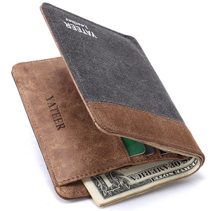 Canvas Patchwork  Short Paragraph Men's Wallets