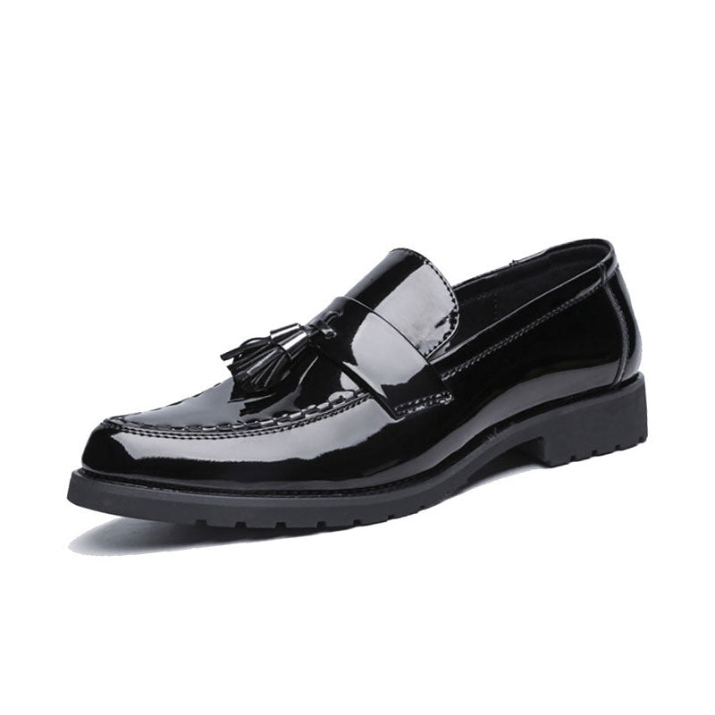 Black Leather RubberTassel Men's Formal Shoes