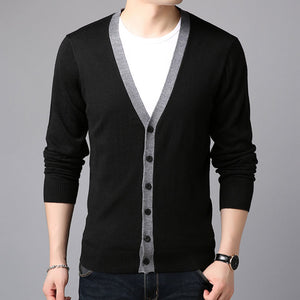 Pure Color Single-Breasted Loose Woolen Men's Sweater