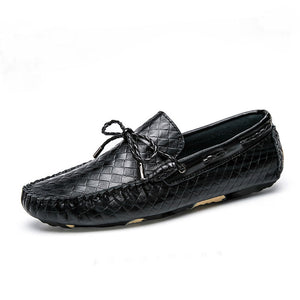 Weaving Pleated  Slip On Men's Casual Shoes