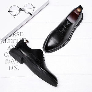 Leather Rubber Lace-Up Pointed Toe Men's Formal Shoes
