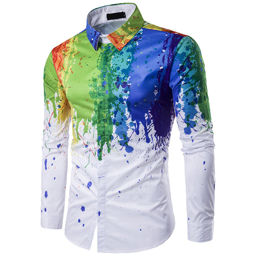 Color Block 3D Stand Collar Hip Hop Simple Men's Shirt
