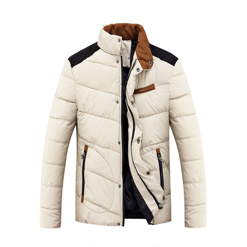 Color-blocked Warm Brief Men's Parka Jacket