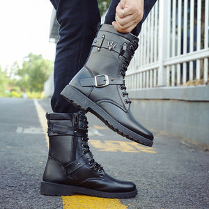 Buckle Leather Strap With Flat Bottom Men's Boots