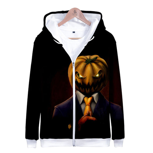 Loose Halloween Lace Up Zippered Printing Men's Hoodies