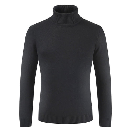 Pure Color High Neck Thickened Casual Jacquard Men's Sweater
