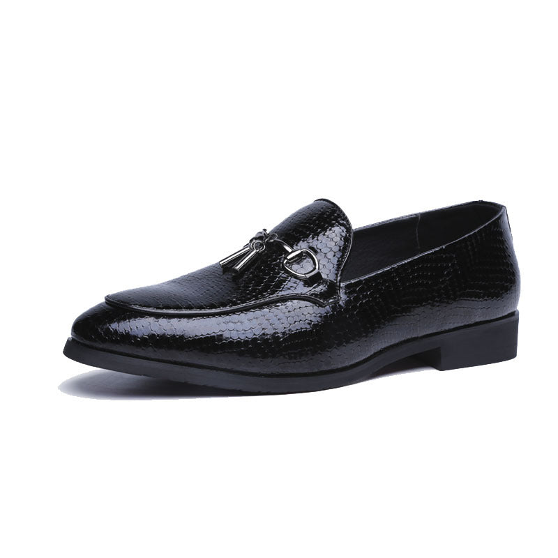 Black PU Rubber Buckle Slip-On Men's Casual Shoes