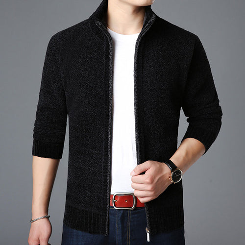Long Sleeve Zippered Solid Color Thickened Woolen Men's Sweater