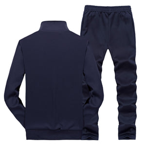 Outdoor Running Pure Salt Zipper Men's Sports Suit