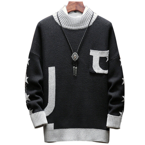 Patchwork Pocket Elasticity Extra Heat Men's Sweater