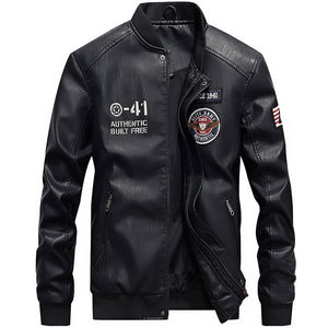 Embroidered Washable Waterproof PU  Men's Leather Coat
