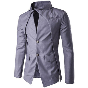 Irregular Single-row Buckle Solid Color Men's Jackets Coats