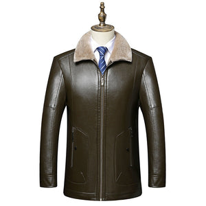 Comfortable Fur Collar Thickened Men's Leather Coat