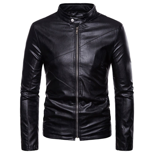 Zippered Plus Size Plain PU Stand Collar Men's Leather Coat