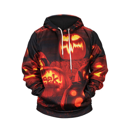 Halloween Printed Pumpkin Plus Size Men's Hoodies