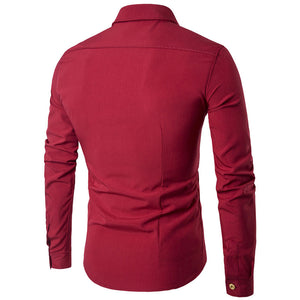 Asymmetric Button Stand Collar Men's Shirts