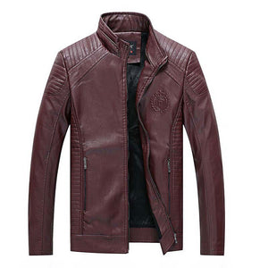Plus Size PU Warm Solid Color Striped Badge Men's Leather Coat