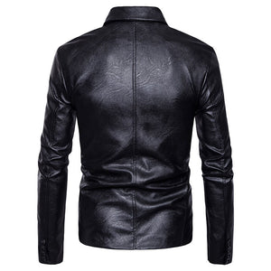 Asymmetric PU Lapel Zippered Casual Men's Leather Coat