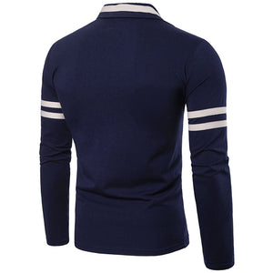 Striped V-Neck Button Pullover Men's Sweatshirts