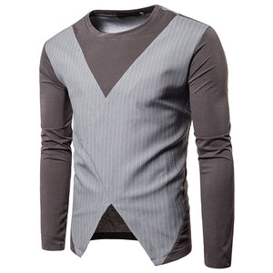 Striped Asymmetric Patchwork Slim Men's T-shirts