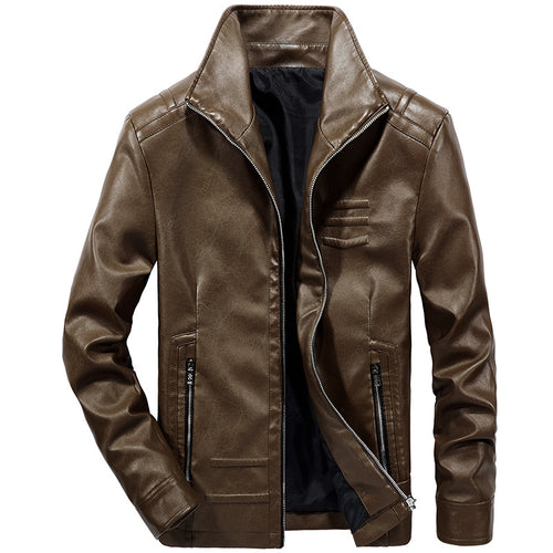 Smooth Biker Slim Fit Casual PU Men's Leather Coat
